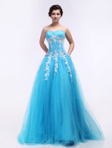 Tulle Quinceanera Dress Aqua Blue Ball Gown Sweetheart Strapless Applique Party Dress