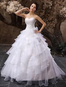 Vestido de novia blanco de organza de línea A con escote de corazón de cola barrida