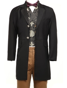 Cool Black Full Length Buttons Jazz Cloth Mens Steampunk Coat