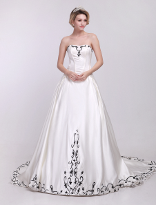 Ivory Aline Strapless Embroidery Satin Wedding Dress