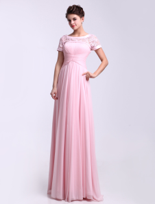 Scoop Neck Short Sleeves Ruched ShotSilk Pink Elegant Bridesmaid Dress