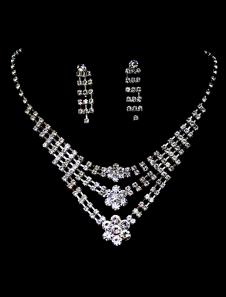 Ensemblede bijoux avec pendentif fleur de rhinestone