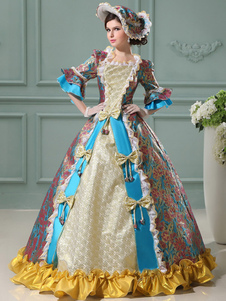 Image of Vintage Princess Costume Floral Rococo Ball Gowns Blue Women's Ruffle Bows Jacquard Maxi Royal Vintage Costume Dress Halloween