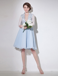 Chiffon Cocktail Dress Mint Green Beading Prom Dress V Neck A Line Knee Length  Party Dress