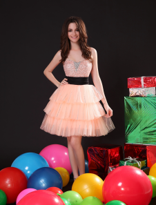 Chic Sequin Sweetheart Neck Tulle KneeLength Fashion Cocktail Dress  Milanoo