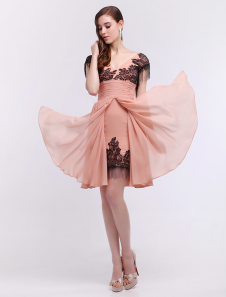 Chiffon Cocktail Dress Lace Applique Prom Dress Blush Pink V Neck A Line Knee Length Party Dress