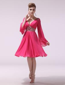 Chiffon Cocktail Dress Hot Pink V Neck Prom Dress Beaded Long Sleeve Pleated Short Party Dress