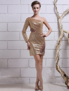 Gold Sheath OneShoulder Embroidered Sequined Cocktail Dress with Long Sleeves Milanoo