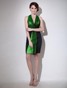 Gorgeous Black Sheath VNeck Pleated Sleeveless Tulle Cocktail Dress Milanoo