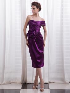 Image of Abito da Cocktail attillato elegante in raso elastico senza spal