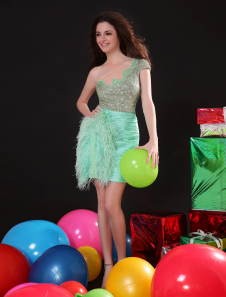 Short Prom Dress Sequined One Shoulder Mint Green  Party Dress Taffeta Feathers Homecoming Dress