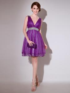 Image of Abito da Cocktail violo sexy in tulle con paillette al ginocchio  Milanoo