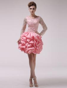 Image of Abito da cerimonia da ballo roso dolce elegante con perline e ricamo in chiffon Milanoo
