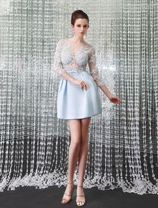 Mint Green Cocktail Dress Illusion  Party Dress Beading 34 Sleeve Short Prom Dress