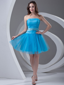 Aline Blue Tulle Beading Strapless Short Homecoming Dress
