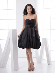 Black Fashion Sweetheart Strapless Empire Waist Taffeta Prom Dress