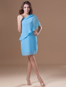 Blue Cascading Ruffle Halter Chiffon Short Fashion Cocktail Dress
