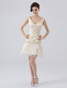 champagne-v-neck-satin-feather-prom-dress