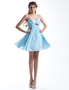 Chiffon Cocktail Dress Aqua  A Line Party Dress Beading Spaghetti Straps Short Prom Dress