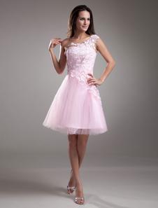 Pink Lace OneShoulder Tulle Short Fashion Cocktail Dress