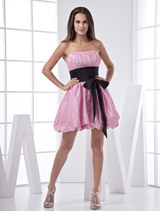 pink-short-taffeta-sash-prom-dress