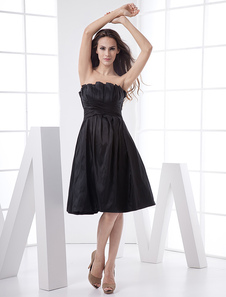Princess Black Strapless Taffeta Prom Dress