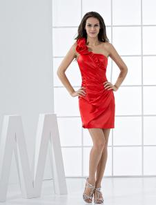 Image of Abito da Cocktail rosso attillato moderno in raso elastico con m
