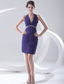 Sheath Royal Blue Chiffon Ruched Halter Short Fashion Cocktail Dress