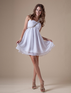 Glamorous Short White One Shoulder Chiffon Womens Homecoming Dress