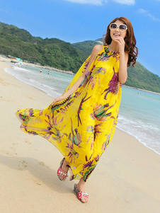 Bohemian Yellow Animal Print Pleated Chiffon Crewneck Womens Maxi Dress