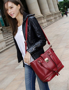 Casual Red Artwork Design PU Leather Womens Tote Bag