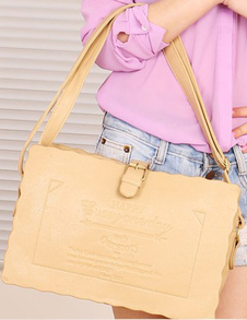 Sweet Khaki PU Leather Shoulder Bag For Woman
