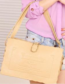 Khaki PU Leather Shoulder Bag