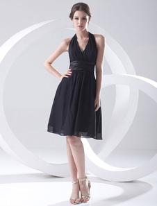 Chiffon Halter KneeLength Cocktail Dress