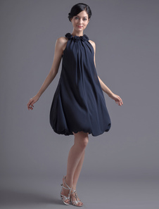Aline Dark Navy Chiffon Floral Jewel Neck Cocktail Dress For Women