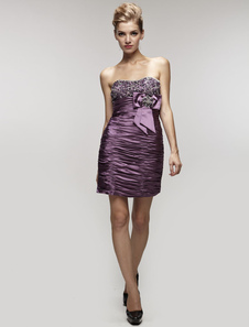 Image of Vestito da Cocktail attillato sexy in satin elastico con collo a