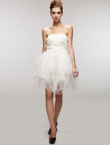 Image of Vestito da sposa avorio chic & moderno in tulle senza spalline di Spalle nude per la festa della maturità