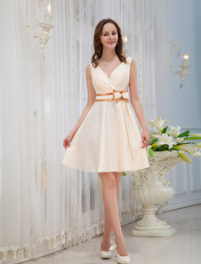 Champagne VNeck Knee Length Bow Satin Womans Homecoming Dress
