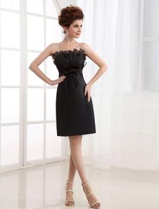 Cocktail Dress Black Sheath Strapless Pleated Satin Cocktail Dress