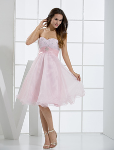 Cute Pink Sweetheart Neckline Tulle Aline Womens Homecoming Dress