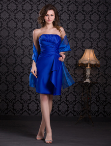 Image of Royal Blue Ruched Satin Prom Dress
