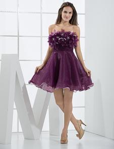 Elegant Mini Grape Strapless Tulle Womens Homecoming Dress