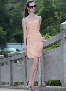 Elegant Orange Strapless Pleated Silk Like Womens Cocktail Dress