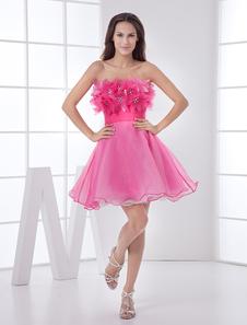 Elegant Short Rose Red Strapless Tulle Womens Homecoming Dress