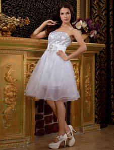 Feminine White Strapless Mini Tulle Womens Homecoming Dress
