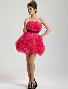 Fuchsia Aline Strapless Sash Tulle Short Cocktail Dress