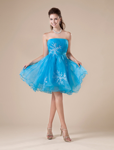 Short Homecoming Dress Aqua Strapless Tulle Beading A Line Prom Dress