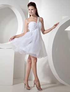 Glamorous Short White One Shoulder Tulle Womens Homecoming Dress