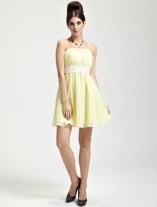 Gorgeous Daffodil Chiffon Strapless Knee Length Womens Cocktail Dress