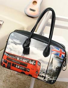 Hip Hop Black Bus Painted PU Leather Womans Tote Bag